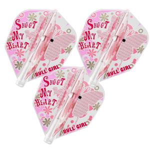 SET OF 3 STANDARD BULL GIRL SHOOT MY HEART PINK COSMO DARTS FIT FLIGHT AIR